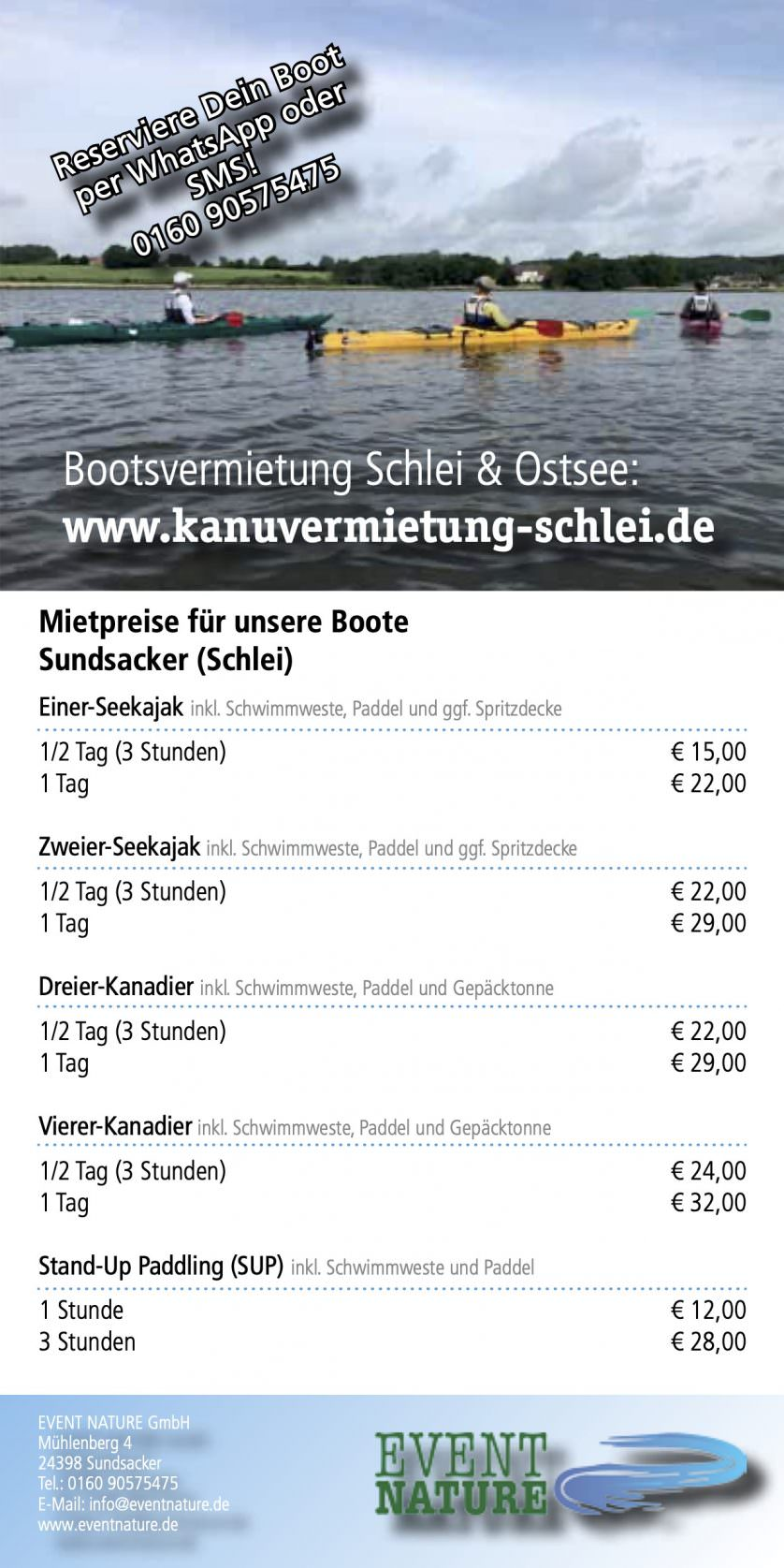 Kanuvermietung Schlei Flyer 2020 Event Nature Event Nature 838x1675 1